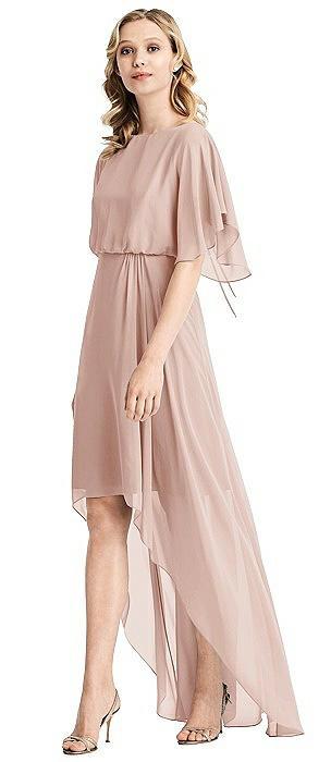 Flutter Sleeve High-Low Cocktail Dress