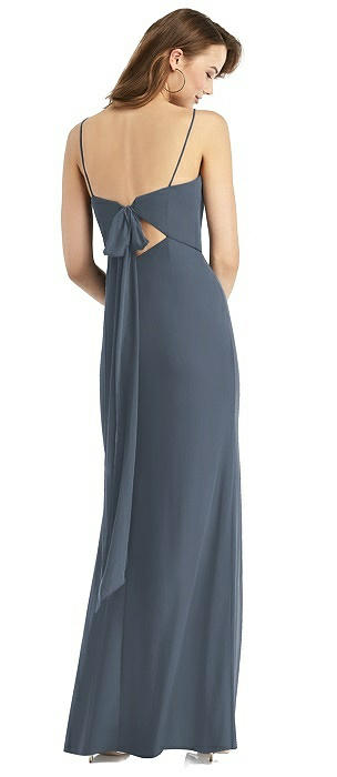 Tie-Back Chiffon Trumpet Dress with Front Slit