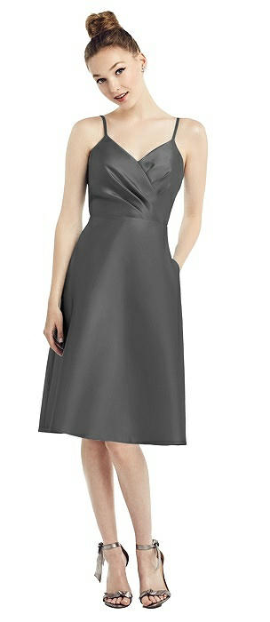Draped Surplice Bodice Satin Cocktail Dress with Pockets