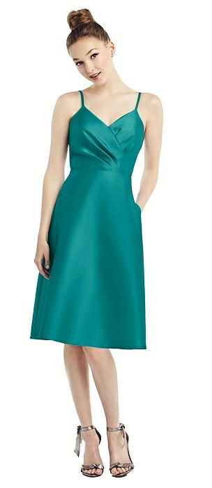 Draped Surplice Bodice Satin Cocktail Dress with Pockets