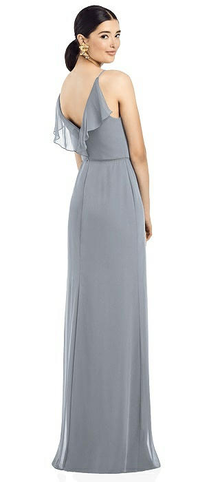 Ruffle V-Back Chiffon Dress with Jeweled Skinny Sash
