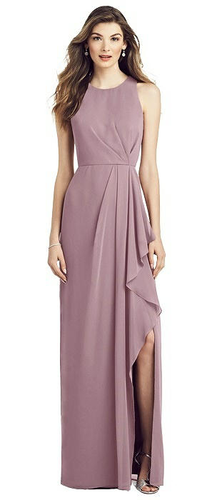 Draped Skirt Chiffon Gown with Front Slit