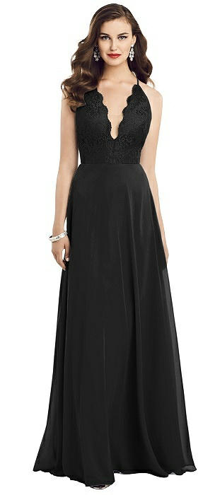 Illusion V-Neck Lace Bodice Chiffon Gown