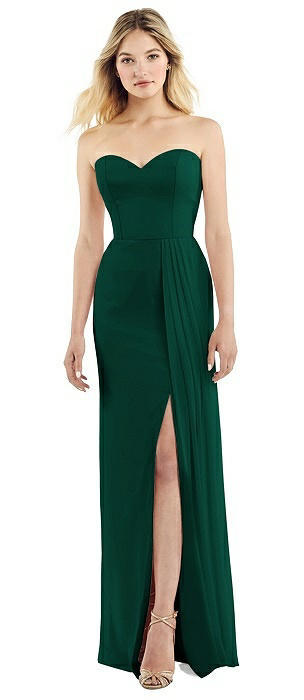 Strapless Sweetheart Chiffon Gown with Pleated Front Slit