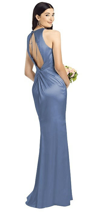 Open Twist-Back Sleeveless Charmeuse Gown