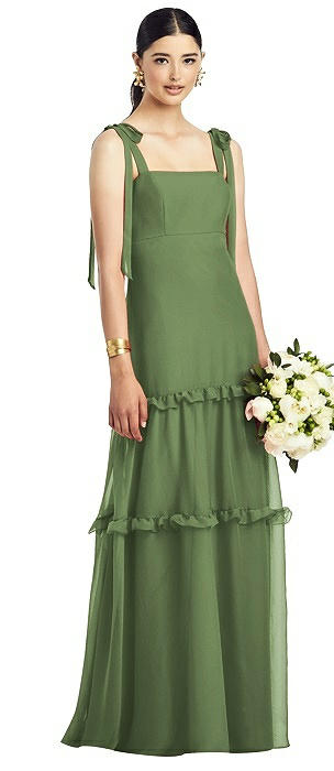 Bowed Flat Strap Chiffon Gown with Ruffle Skirt