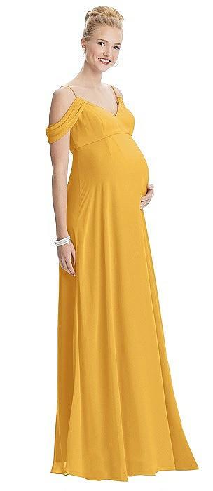 Draped Cold Shoulder Chiffon Maternity Dress