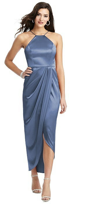 Halter Midi Dress with Split Tulip Skirt