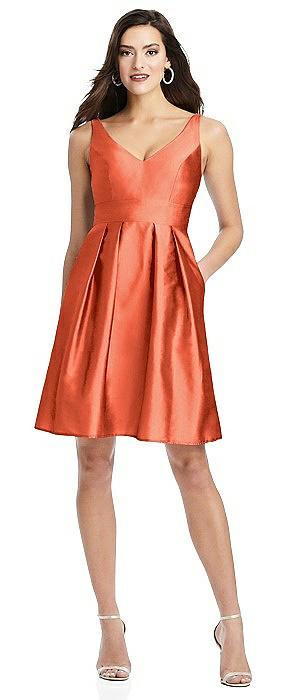 Sleeveless V-Back Cocktail Dress with Pockets