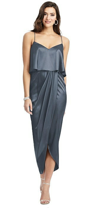 Popover Bodice Midi Dress with Split Tulip Skirt