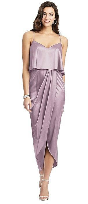 Popover Bodice Midi Dress with Split Tulip Skirt