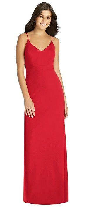 Spaghetti Strap Stretch Gown with Fishtail Skirt