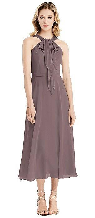 Chiffon Ruffle Halter Midi Dress
