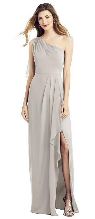One-Shoulder Draped Skirt Chiffon Gown with Front Slit
