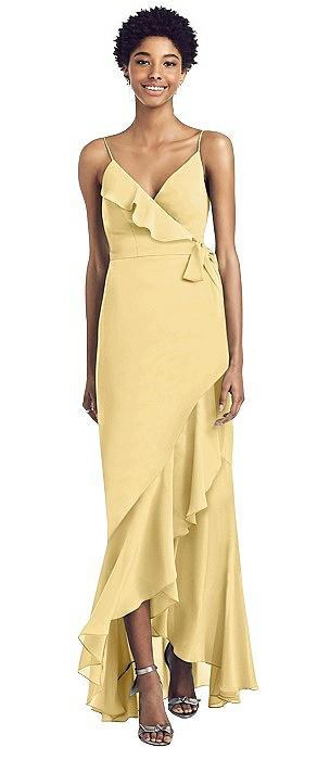 Ruffled Wrap Dress with Spaghetti Straps