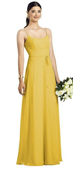 Spaghetti Strap Chiffon Gown with Jeweled Skinny Sash