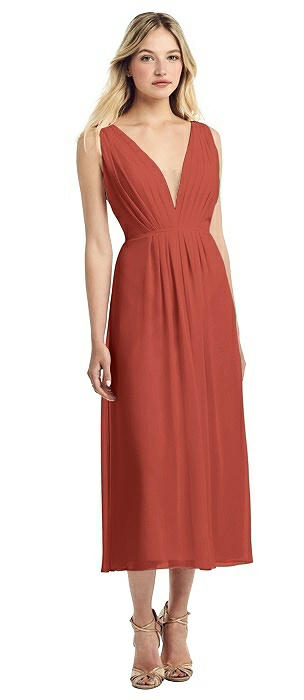 Deep V-Neck Pleated Bodice Chiffon Midi Dress