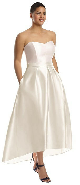 Strapless Sweetheart Satin High Low Gown On Sale