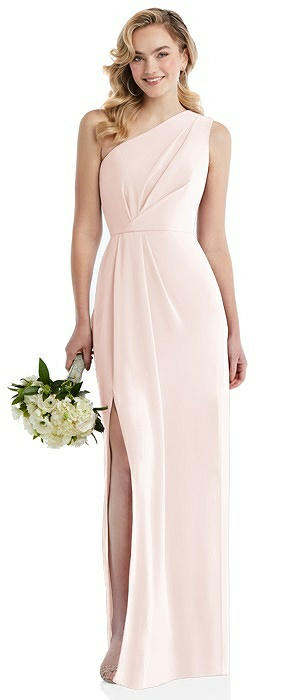One-Shoulder Draped Bodice Column Gown On Sale