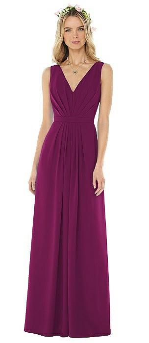 Sleeveless V-Pleat Sheer Crepe Gown On Sale