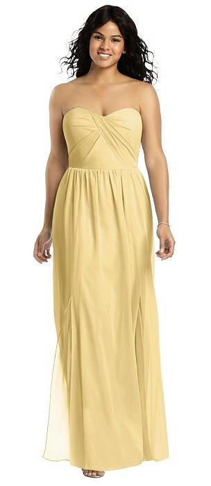 Strapless Draped Bodice Gown with Front Slits On Sale
