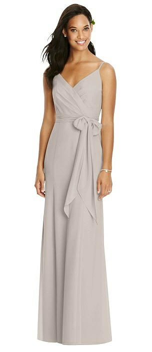 Wrap Bodice V-Back Trumpet Gown with Sash On Sale