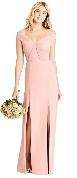 Pleated Bodice Off-the-Shoulder Gown with Front Slits