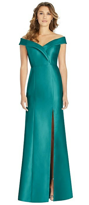 Off-the-Shoulder Cuff Satin Gown with Front Slit