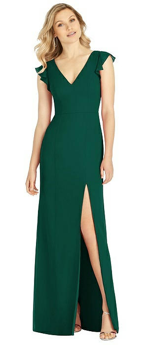 Ruffle Sleeve Mermaid Gown with Front Slit