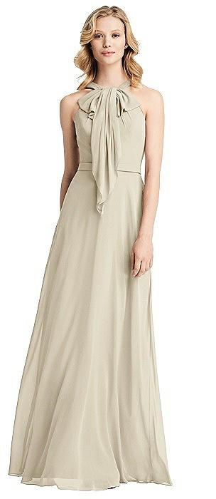 Long Ruffle Halter Chiffon Dress