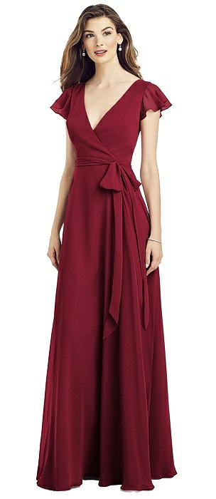 Flutter Sleeve Faux Wrap Chiffon Gown with Sash