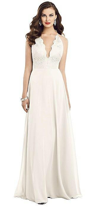 Illusion V-Neck Lace Bodice Chiffon Gown