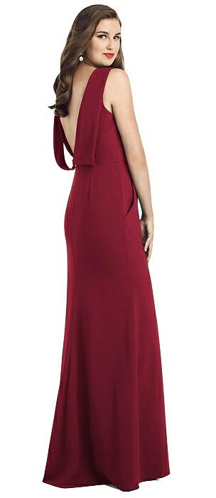 Draped Low Back Crepe Gown with Pockets
