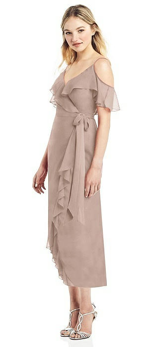 Ruffle-Trimmed Wrap Chiffon Cocktail Dress