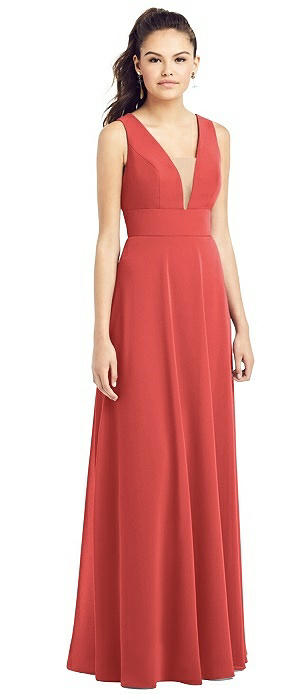 Illusion V-neck Chiffon Gown with Adjustable Straps