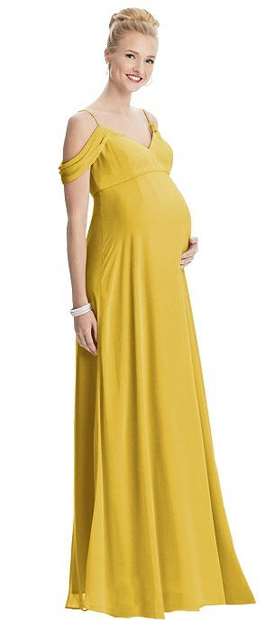 Draped Cold Shoulder Chiffon Maternity Dress