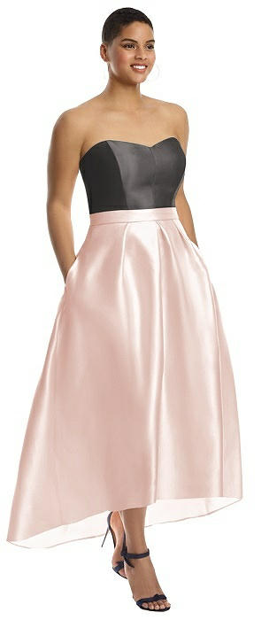 Strapless Sweetheart Satin High Low Gown