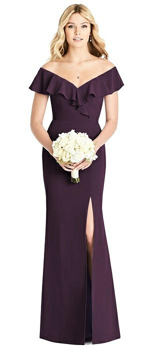 Draped Ruffle Off-the-Shoulder Trumpet Gown