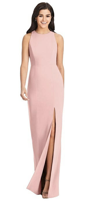 Diamond Cut Open-Back Crepe Gown with Front Slit