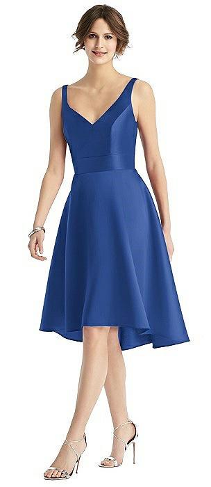 V-Neck Sateen High-Low Cocktail Dress