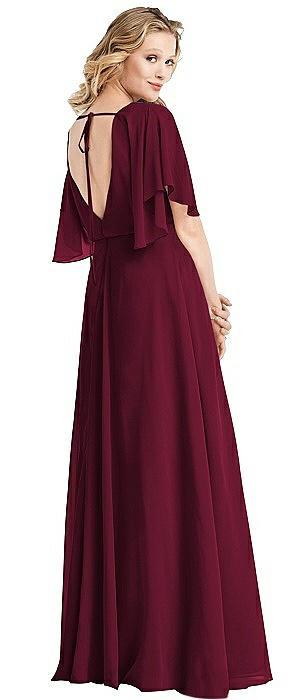 Flutter Sleeve Open-Back Gown