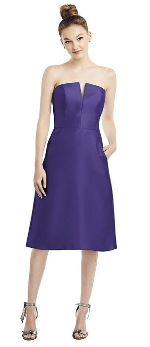 Strapless Notch Satin Cocktail Dress with Pockets