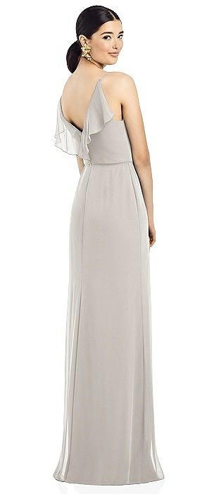 Ruffle V-Back Chiffon Dress with Jeweled Skinny Sash
