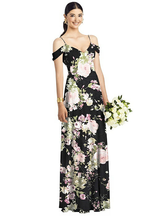 Cold Shoulder V-Back Chiffon Gown