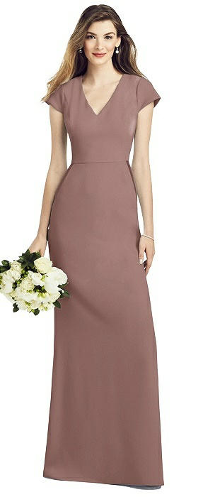 Cap Sleeve A-line Crepe Gown with Pockets
