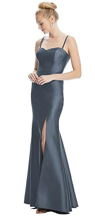 Satin Bustier Bodice Trumpet Gown