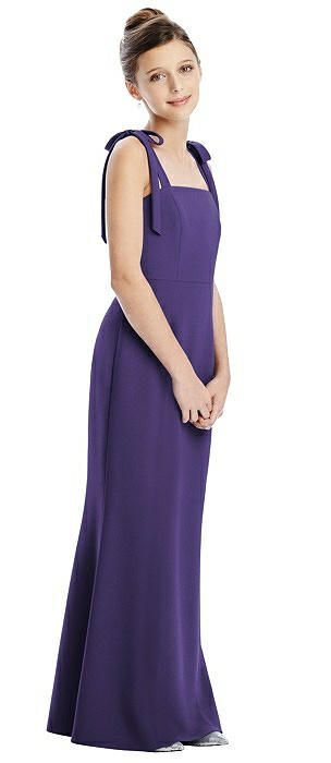 Bow Strap Juniors Dress with Trumpet Skirt