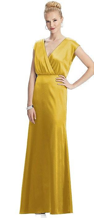 Cap Sleeve Wrap Blouson Charmeuse Gown
