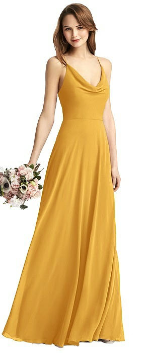Cowl-Neck Chiffon Gown with Criss Cross Back