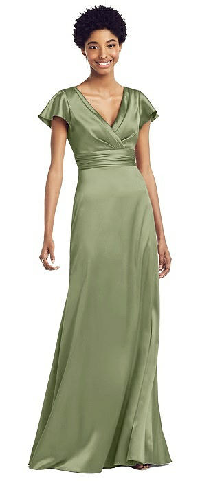 Wrap Bodice Charmeuse Gown with Flutter Sleeves